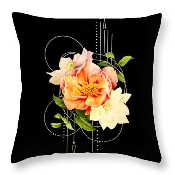 Throw Pillow featuring the digital art Floral Abstraction by Bee-Bee Deigner