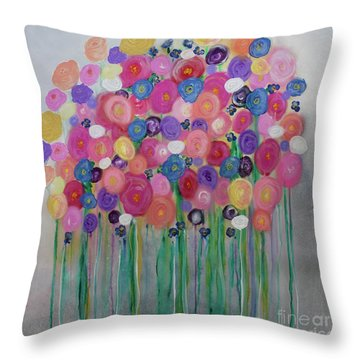 Floral Balloon Bouquet Throw Pillow