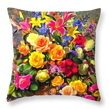 Floral Bouquet In Acrylic Throw Pillow