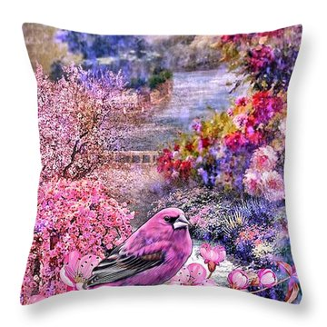 Floral Embedded Throw Pillow