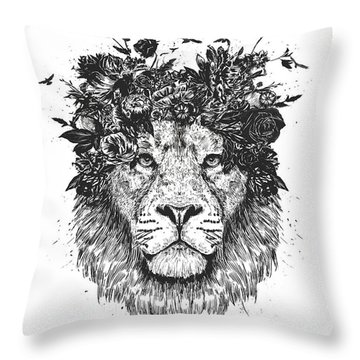 Floral Lion Throw Pillow