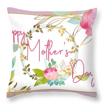 Floral Mother's Day Art Throw Pillow