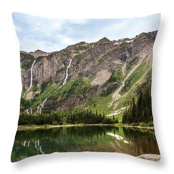 Floral Park Falls Monument Falls Avalanche Basin Falls Across Avalanche Lake Glacier National Park Throw Pillow