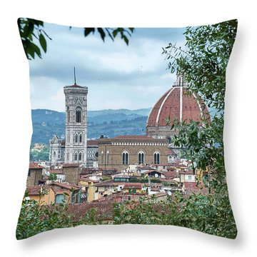 Florence And The Cathedral From The Boboli Gardens Throw Pillow