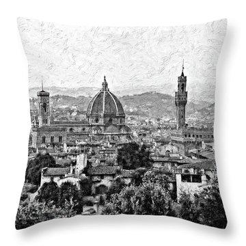 Florence Impasto Bw Throw Pillow