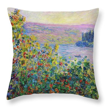 Flower Beds At Vetheuil - Digital Remastered Edition Throw Pillow