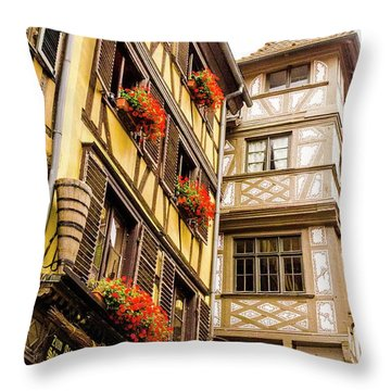 Flower Boxes Strasbourg Throw Pillow