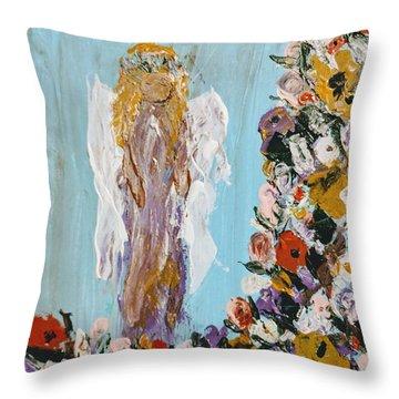 Flower Child Angel Throw Pillow