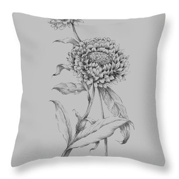 Flower Drawing 3 Throw Pillow