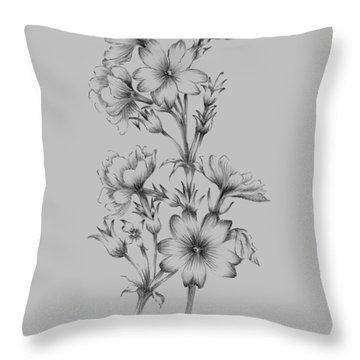 Flower Drawing II Throw Pillow
