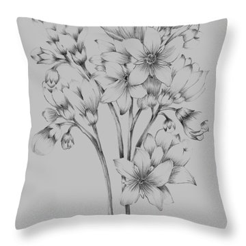 Flower Drawing Throw Pillow