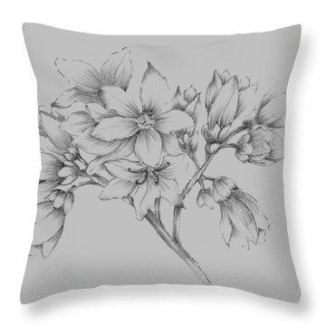 Flower Illustration Throw Pillow