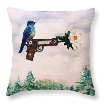 Flower In A Gun- Bluebird Of Happiness Throw Pillow