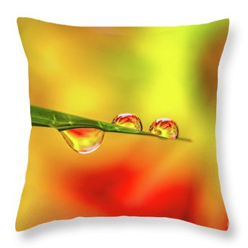 Flower In Water Droplet Throw Pillow