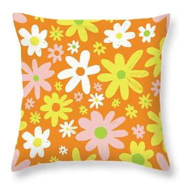 Flower Power Pattern Throw Pillow