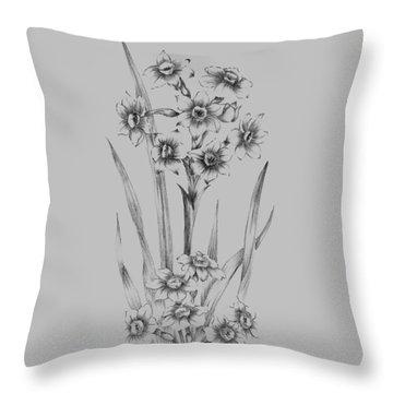Flower Sketch I Throw Pillow
