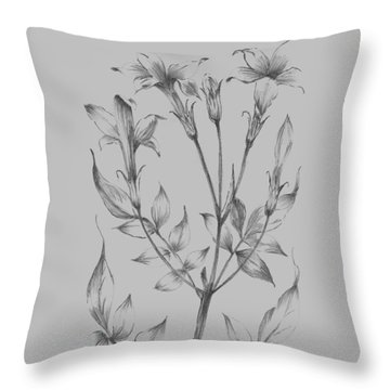 Flower Sketch II Throw Pillow