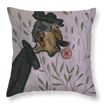 Throw Pillow featuring the drawing Flower Sniffer  by Ivar Arosenius