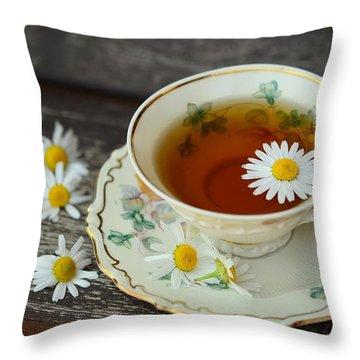 Flower Tea Throw Pillow