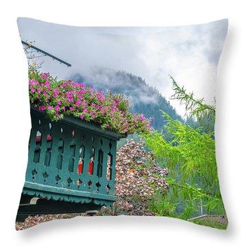 Flowered Balcony Throw Pillow