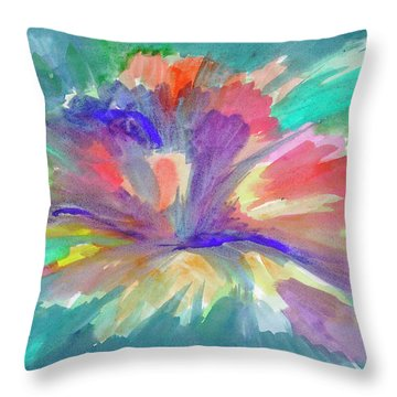 Throw Pillow featuring the painting Flowering Abstract 1 by Dobrotsvet Art
