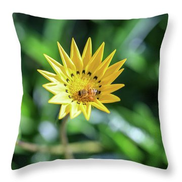 Yellow Flowers And A Bee Throw Pillow