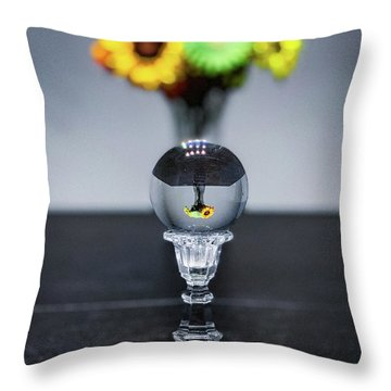 Throw Pillow featuring the photograph Flowers And Crystal Ball by Lora J Wilson