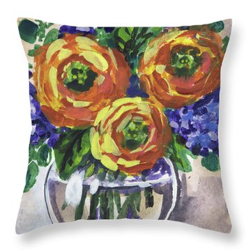 Flowers Bouquet Floral Yellow Warmth Impressionism  Throw Pillow