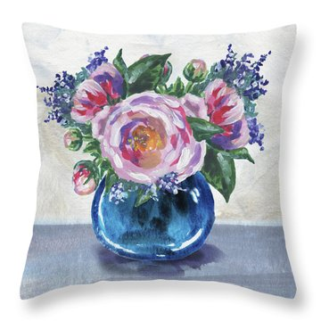 Flowers Bouquet In Blue Vase Floral Impressionism  Throw Pillow
