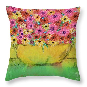 Throw Pillow featuring the painting Flowers For Debbie by Kim Nelson