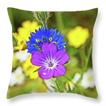 Flowers In The Meadow. Throw Pillow