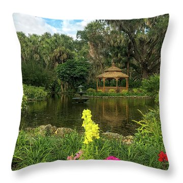 Flowers To Gazebo By The Lake Throw Pillow