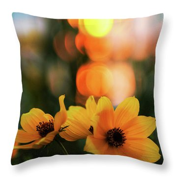 Flowery Bokeh Sunset Throw Pillow