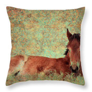 Flowery Foal Throw Pillow