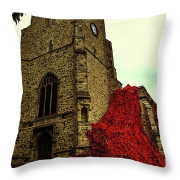 Flowing Poppies Throw Pillow