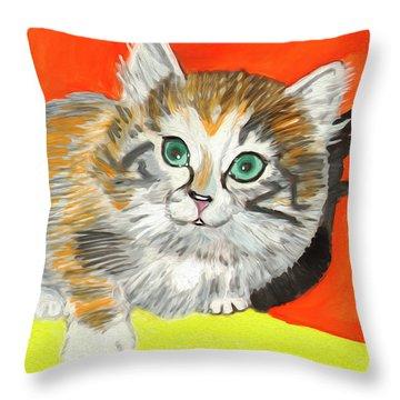 Throw Pillow featuring the painting Fluffy Kitten by Dobrotsvet Art