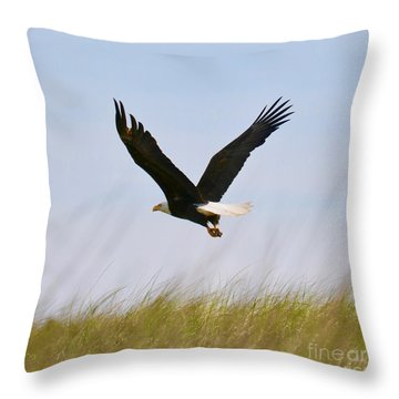 Flying Bald Eagle At Beach Throw Pillow
