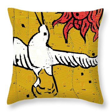 Flying Bird And Red Sun Face Throw Pillow