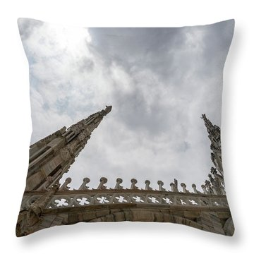 Flying Buttresses And Airy Spires - Milans Cathedral Duomo Di Milano Throw Pillow