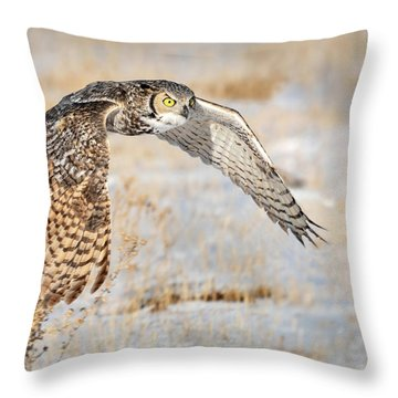 Flying Great Horned Owl Throw Pillow