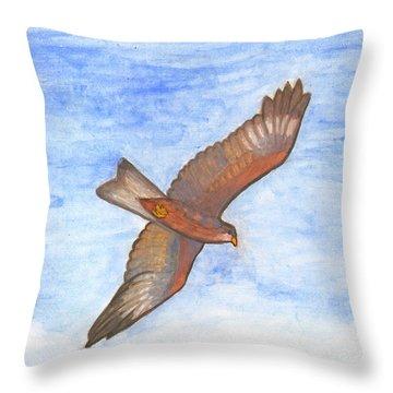 Flying Hawk Throw Pillow
