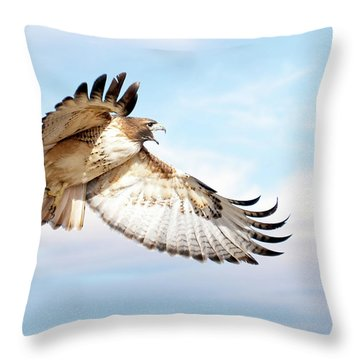 Flying Red-tailed Hawk Throw Pillow