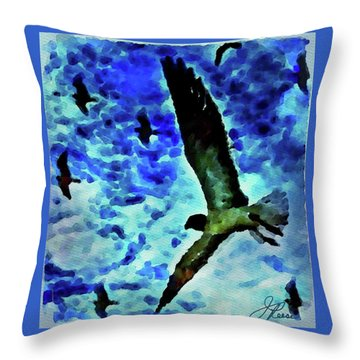 Throw Pillow featuring the painting Flying Seagulls by Joan Reese