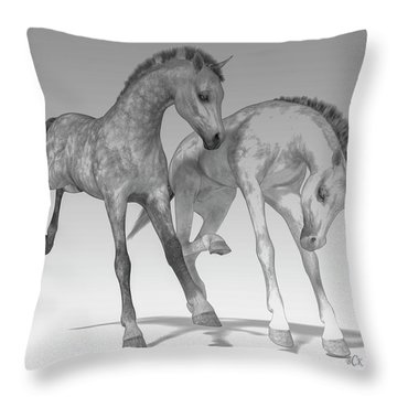 Foals Black And White Bleached Throw Pillow