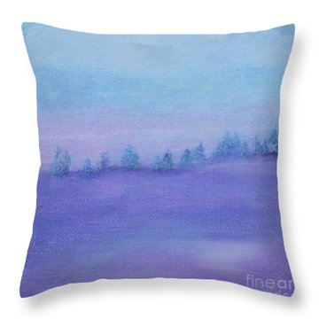 Throw Pillow featuring the painting Fog Descending by Kim Nelson