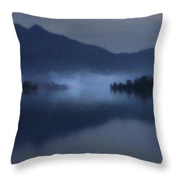 Fog On The Dark Mountain Lake Throw Pillow
