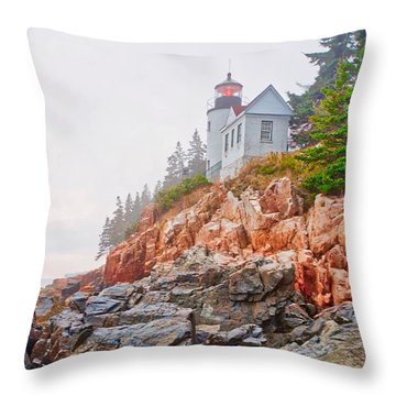 Foggy Bass Harbor Lighthouse Throw Pillow