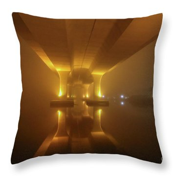 Throw Pillow featuring the photograph Foggy Bridge Glow by Tom Claud