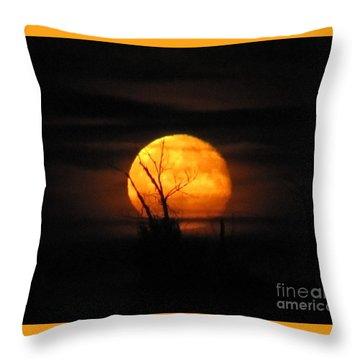 Foggy Harvest Moon Throw Pillow