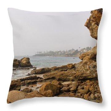 Throw Pillow featuring the photograph Foggy Laguna Beach by Brian Eberly